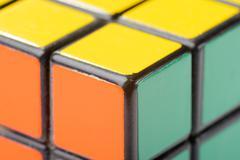 closeup of rubik's cube - stock photo