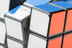 Closeup of rubik's cube Stock Photos