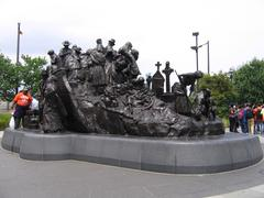 Landing of Penn from Ireland. Sculpture in Philadelphia  (USA) - stock photo