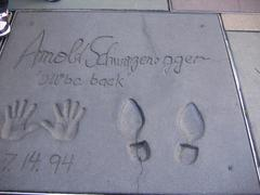 Handprint of Arnold Swartsenegger - stock photo