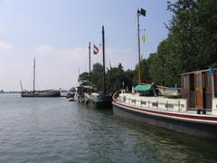 Old ships on the IJsselmeer - stock photo
