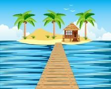 Wooden bridge to tropical island Piirros