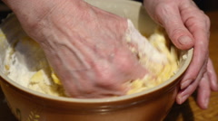 Forming dough with hands to bake cookies and pizza. Stock Footage