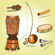 Collection of musical instruments of capoeira. Stock Illustration