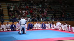 Judo Exhibition Slowmotion Tehnique of Demonstration Stock Footage