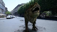 Dinosaurs walking in the street Stock Footage