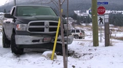 Wrecked pickup, winter accident Stock Footage