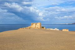 Old ruined watchtower in playa blanca, lanzarote Stock Photos