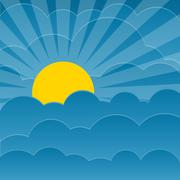 Clouds background with sun - stock illustration