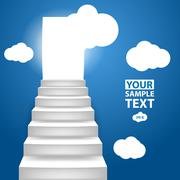 Stock Illustration of Staircase to up with clouscape, conceptual background to motivat