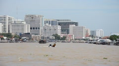 Viewpoint Chao Phraya River from Prang of Wat Arun in Bangkok Stock Footage