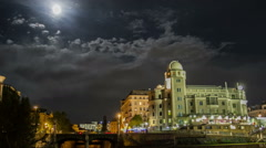 HYPERLAPSE Urania Vienna at night Stock Footage