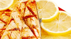 Grilled salmon and vegetables Stock Footage