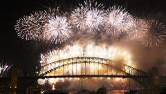 Sydney new years eve 2014 fireworks finale Stock Footage