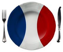 french cuisine - plate and cutlery - stock illustration