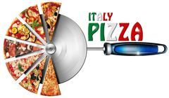 italy pizza on cutter for pizza - stock illustration