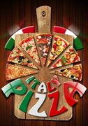 Italy pizza on the old cutting board Stock Illustration