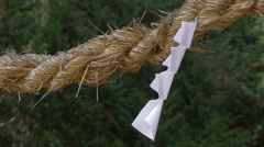 Paper on Rope at Shinto Shrine Stock Footage