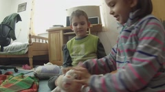2 children playing in the room. Stock Footage
