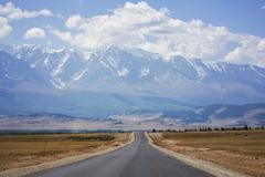 Asphalt road, altai mountains, russia Stock Photos