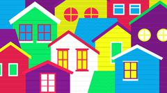 Stock Illustration of colorful village