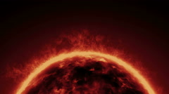Sun solar surface with magma and lava burning and flames with smoke on it. Stock Footage