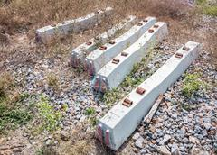 concrete sleepers - stock photo