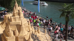 Artistic Sandcastle In Summer At Paris - stock footage