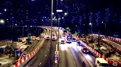 Hong Kong cityscape time-lapse busy traffic highway Stock Footage