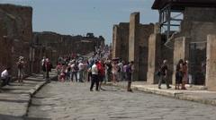 Naples Italy Pompeii tourist crowd ancient Roman road fast 4K 037 Stock Footage