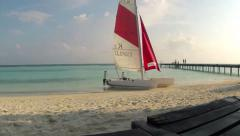Timelapse of a maldivian beach in the sunshine Stock Footage