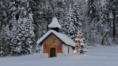 4K FHD chapel with christmas tree in winter Stock Footage