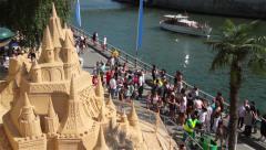 Big Sandcastle In Summer At Paris Stock Footage