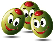 olives filled with smile - stock illustration