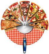 Pizza on the cutting board Stock Illustration