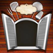 restaurant menu on wooden white window - stock illustration