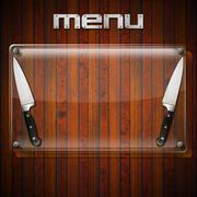 Rustic menu background - glass plate Stock Illustration