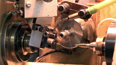 Working with a cutter drill closeup on a lathe the turning parts. 50 fps Stock Footage