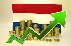 Currency appreciation - Netherlands economy Stock Illustration