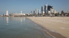 Stock Video Footage of Kuwait City from the beach