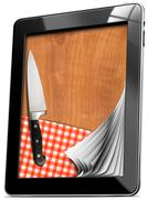 Tablet computer with cutting board Stock Illustration