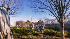 Timelapse of the Korean War Veterans Memorial Stock Footage