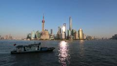 Time lapse:fishing ship sailing on Huanpu river, seen from the Bund of Shanghai Stock Footage