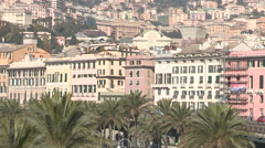 Buildings facing the port of Genoa Stock Footage