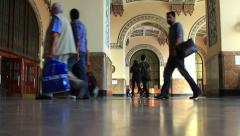 Passengers in Haydarpasa Train Station Stock Footage