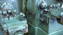 SAINT-PETERSBURG, RUSSIA. Machine cutter metal blanks for turning things Stock Footage
