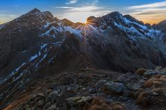 Stock Photo of sunset over the fagaras mountains, southern carpathians