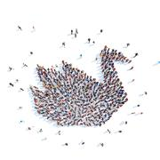 People in the form of a swan. - stock illustration
