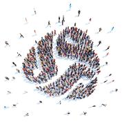 People in the form of an abstract symbol. Stock Illustration