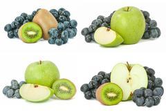 Grapes green apple and kiwi set Stock Photos